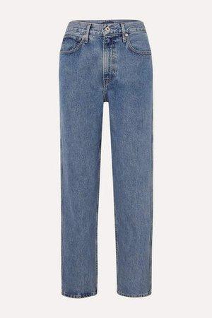 The Column Mid-rise Straight-leg Jeans - Mid denim