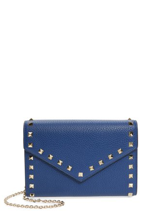 Valentino Garavani Rockstud V-Flap Calfskin Leather Wallet on a Chain | Nordstrom