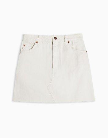 Topshop high waist denim mini skirt in white   ASOS