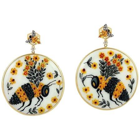 18 Karat Gold Enamel Hand Painted Diamond Citrine Bee Earrings For Sale at 1stDibs