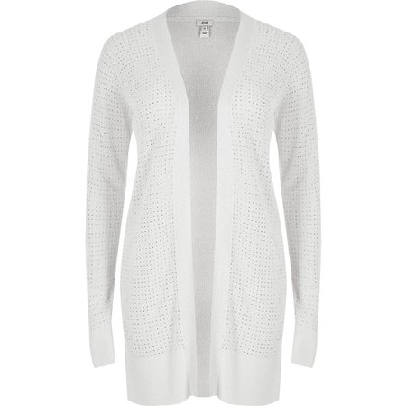 Silver diamante knitted cardigan   River Island