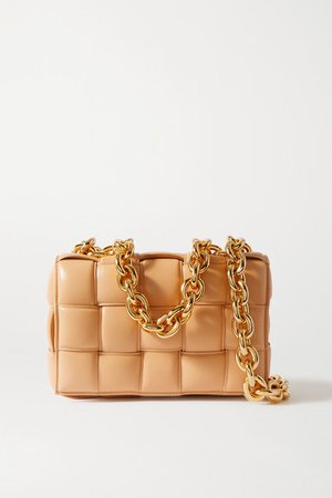 Cassette Padded Intrecciato Leather Shoulder Bag - Beige