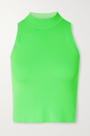 Cropped Neon Stretch Tank - Green