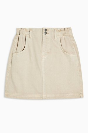 CONSIDERED Sand Denim Paperbag Mini Skirt | Topshop
