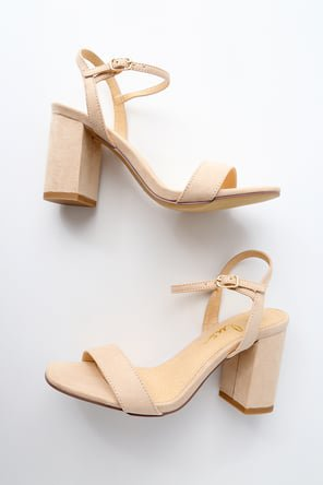 Cute Chunky Heel Sandals - Nude Patent High Heel Sandals
