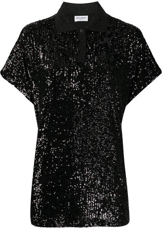 sequinned polo shirt