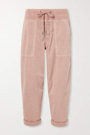 Cropped Cotton-blend Twill Cargo Pants - Pink