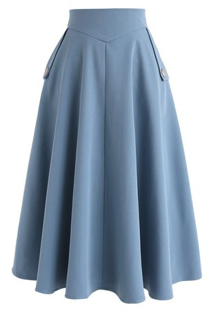 Chic Wish Classic Simplicity A-Line Midi Skirt in Blue - Retro, Indie and Unique Fashion