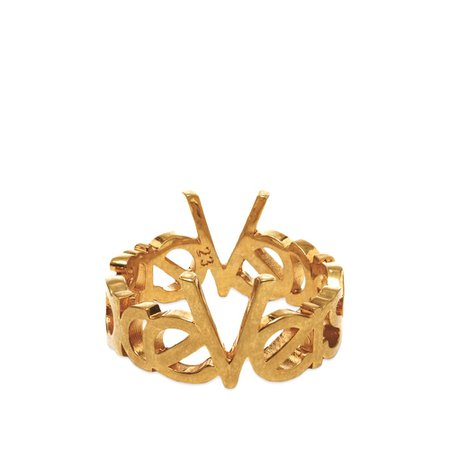 Versace 90s Logo Ring Gold | END.