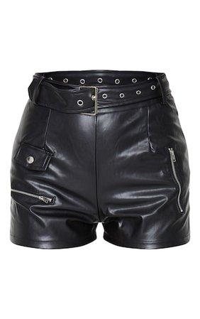 Black Faux Leather Biker Short | Shorts | PrettyLittleThing USA