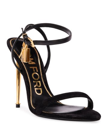 TOM FORD Strappy Suede Lock Sandals | Neiman Marcus
