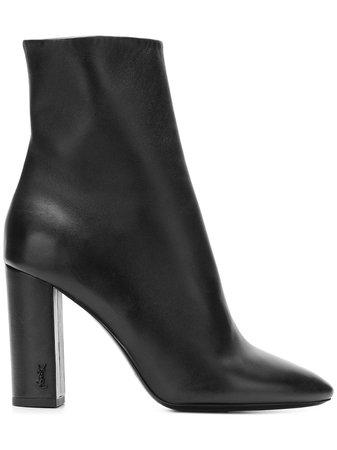 Black Saint Laurent Lou 95 Ankle Boots | Farfetch.com