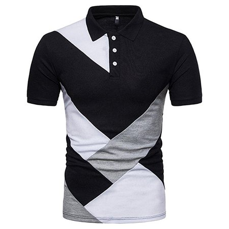 Forthery Mens Casual Slim Fit Short Sleeve Solid Polo Shirt Summer Tops at Amazon Men's Clothing store: