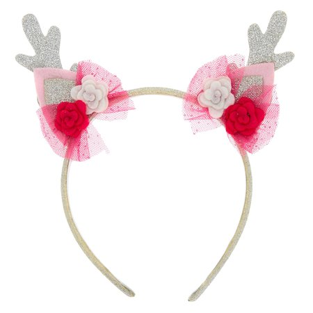 Claire's Club Deer Antlers Headband - Pink