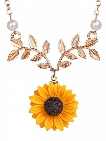 2019 Sunflower and Branch Pattern Necklace In GOLD | DressLily.com
