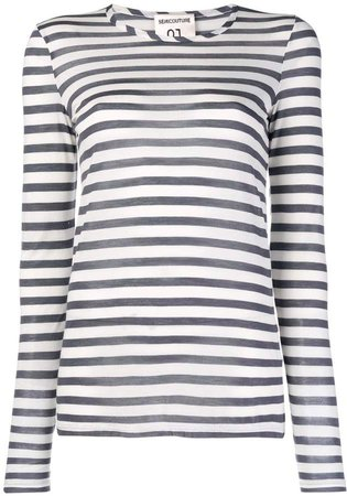 Semicouture Tuck striped long sleeve top