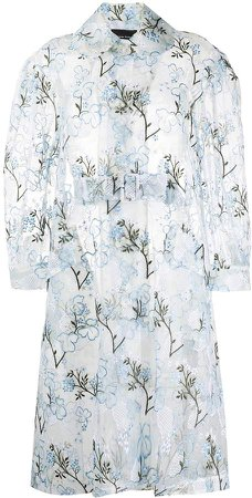 Floral-Embroidered Organza Coat