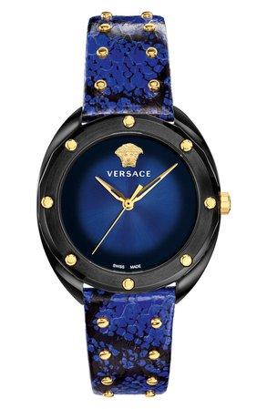 Versace Shadov Snakeskin Leather Strap Watch, 38mm | Nordstrom