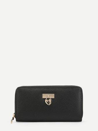 Zip Around Wallet With Heart-shaped lock