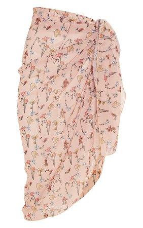 Peach Garden Print Midi Tie Waist Sarong | PrettyLittleThing