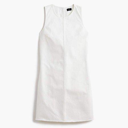 Denim shift dress in white wash