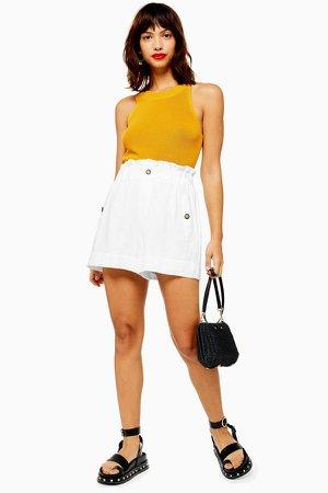 White Linen Blend Paperbag Shorts