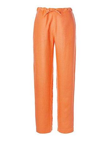 Linen trousers, mango, orange | MADELEINE Fashion