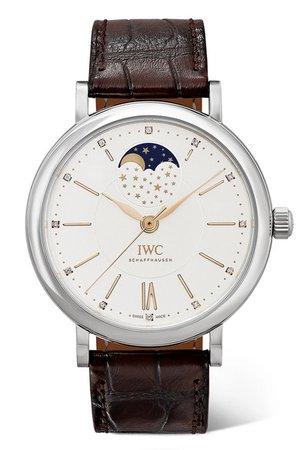IWC SCHAFFHAUSEN | Portofino Automatic Moon Phase 37mm stainless steel, alligator and diamond watch | NET-A-PORTER.COM