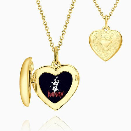 Halloween Ghost Embossed Printing Heart Locket Necklace 14k Gold Plated