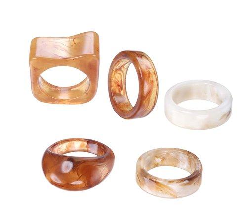 Brown chunky rings