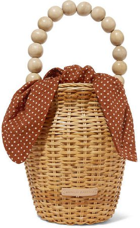 Louise Wicker And Polka-dot Canvas Tote - Beige