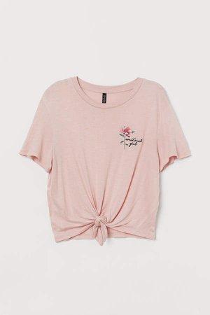 Short Tie-hem Top - Pink