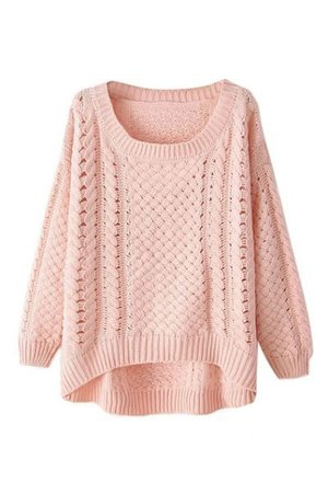 pale pink sweater cable knit