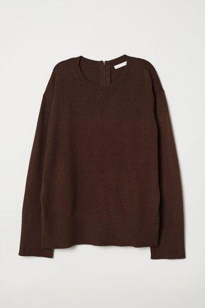 Knitted jumper - Dark brown - Ladies   H&M