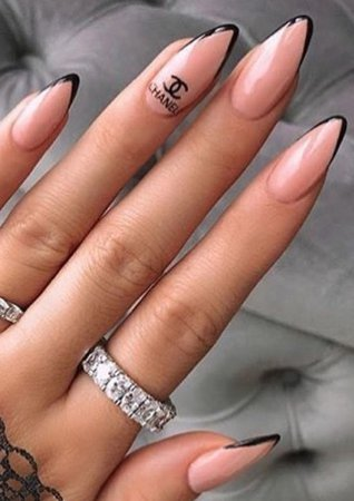 """Nude / Black Tip """"Chanel """" Nails"""