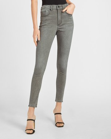 High Waisted Gray Faded Skinny Jeans