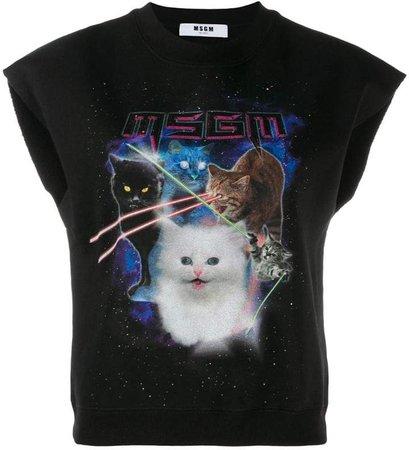 sleeveless cat motif sweatshirt