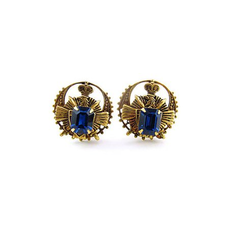 Vintage Earrings Heraldic Earrings Clip On Earrings | Etsy