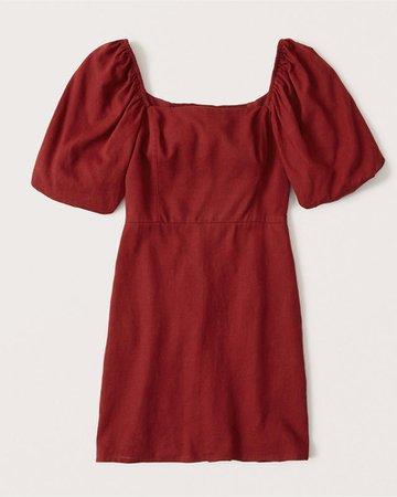 Women's Puff-Sleeve Linen-Blend Mini Dress | Women's New Arrivals | Abercrombie.com