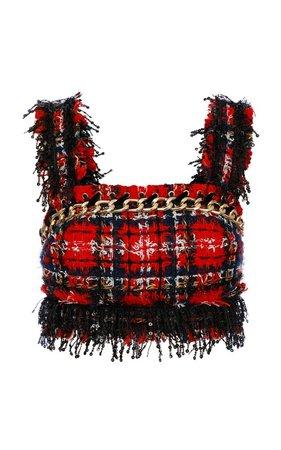 Balmain Chainlink-Embellished Tweed Cropped Top