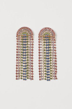 Rhinestone earrings - Gold-coloured/Multicoloured - Ladies | H&M GB