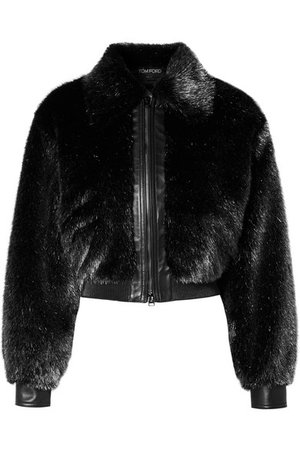 TOM FORD | Cropped leather-trimmed metallic faux fur bomber jacket | NET-A-PORTER.COM