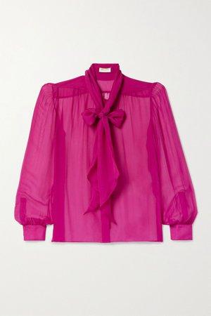 Fuchsia Pussy-bow silk-chiffon blouse | SAINT LAURENT | NET-A-PORTER