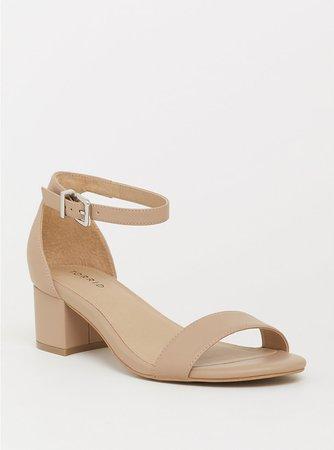 Nude Faux Leather Low Block Heel Sandal (WW) - Plus Size | Torrid