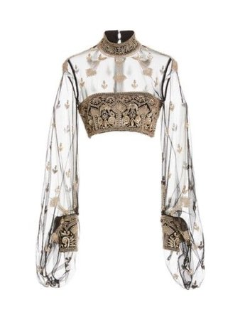 Black and gold  design long sleeve sheer crop top