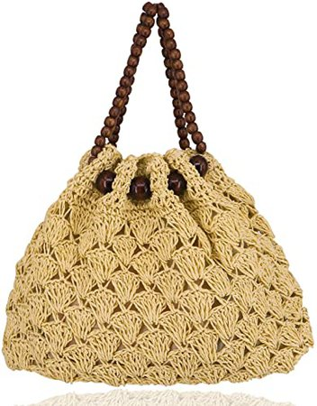 Fashion Women Woven Straw Tote Bag Hollow Out Summer Vintage Straw Beach Bag with Beaded Handle (Beige)