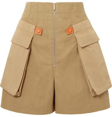 Leather-trimmed Cotton-twill Shorts - Beige
