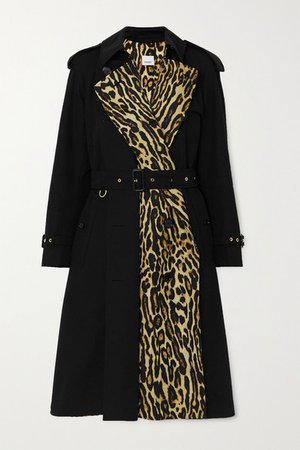 Leopard-print Cotton-gabardine Trench Coat - Black