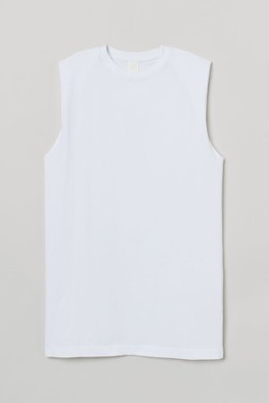 Sleeveless Jersey Dress - White