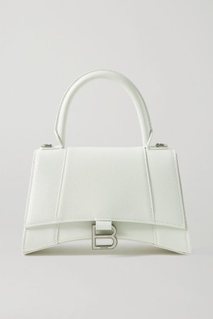 Hourglass Small Textured-leather Tote - White